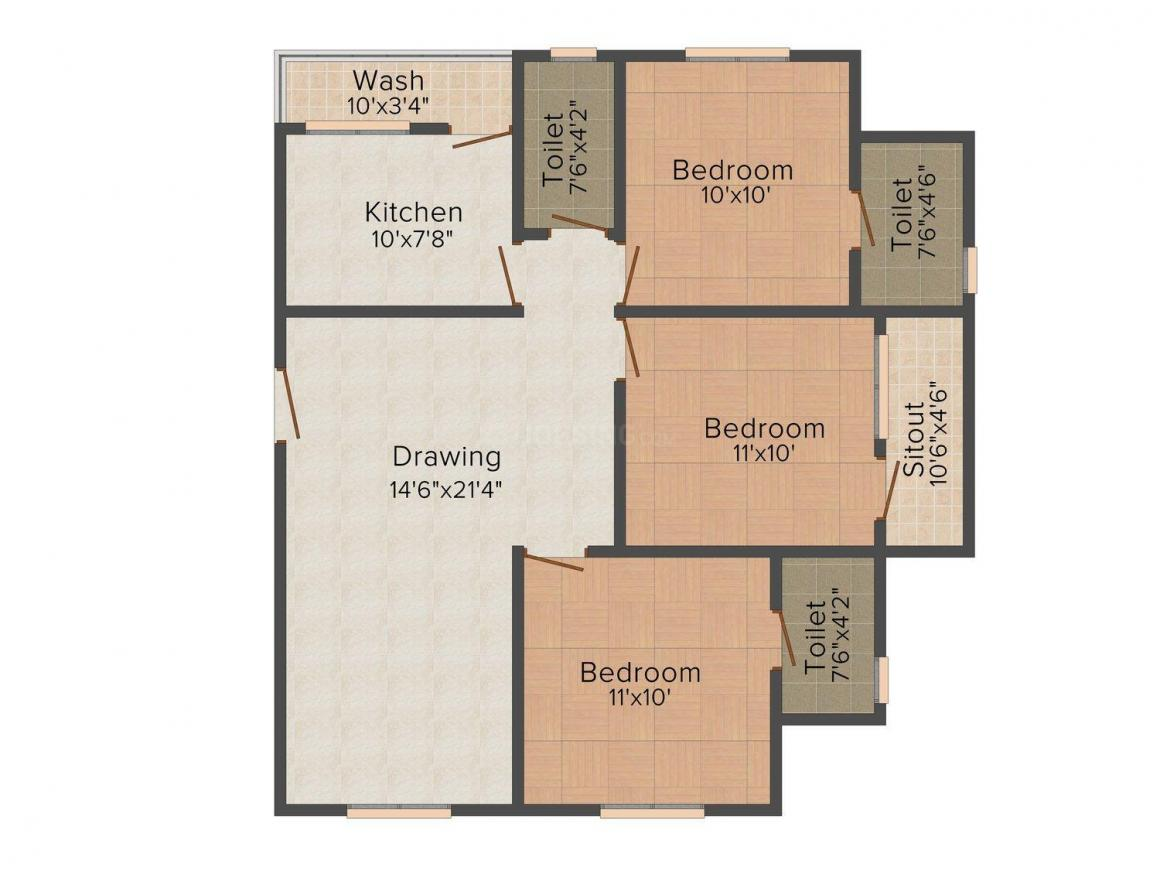 Floor Plan Image of 950 - 1224 Sq.ft 2 BHK Apartment for buy in Shri Parasnath Himanshu Sheetal Tower