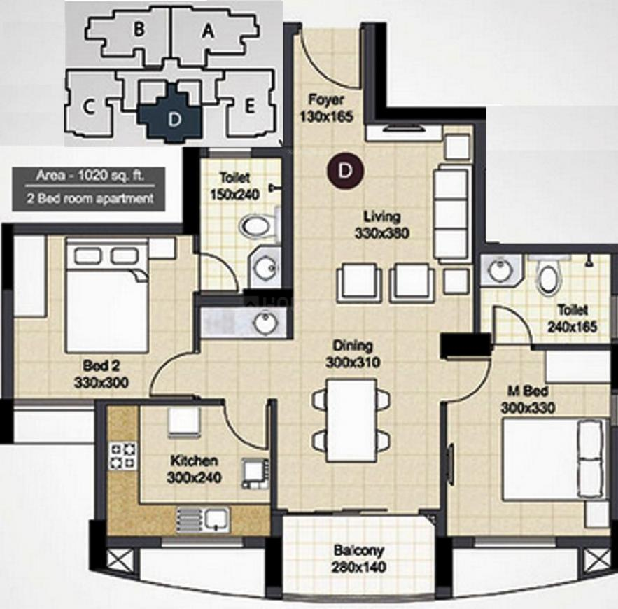 Skyline Crescendo Floor Plan: 2 BHK Unit with Built up area of 1020 sq.ft 1