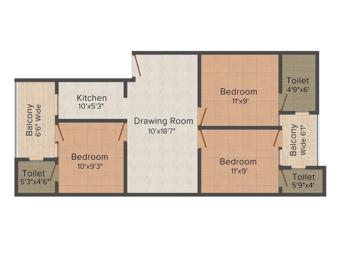 Floor Plan Image of 0 - 1100 Sq.ft 3 BHK Independent Floor for buy in Rungta Apt-1