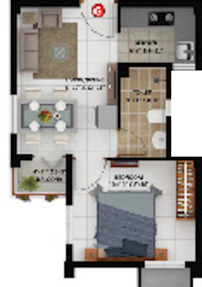 Merlin Oikyo Floor Plan: 1 BHK Unit with Built up area of 350 sq.ft 1