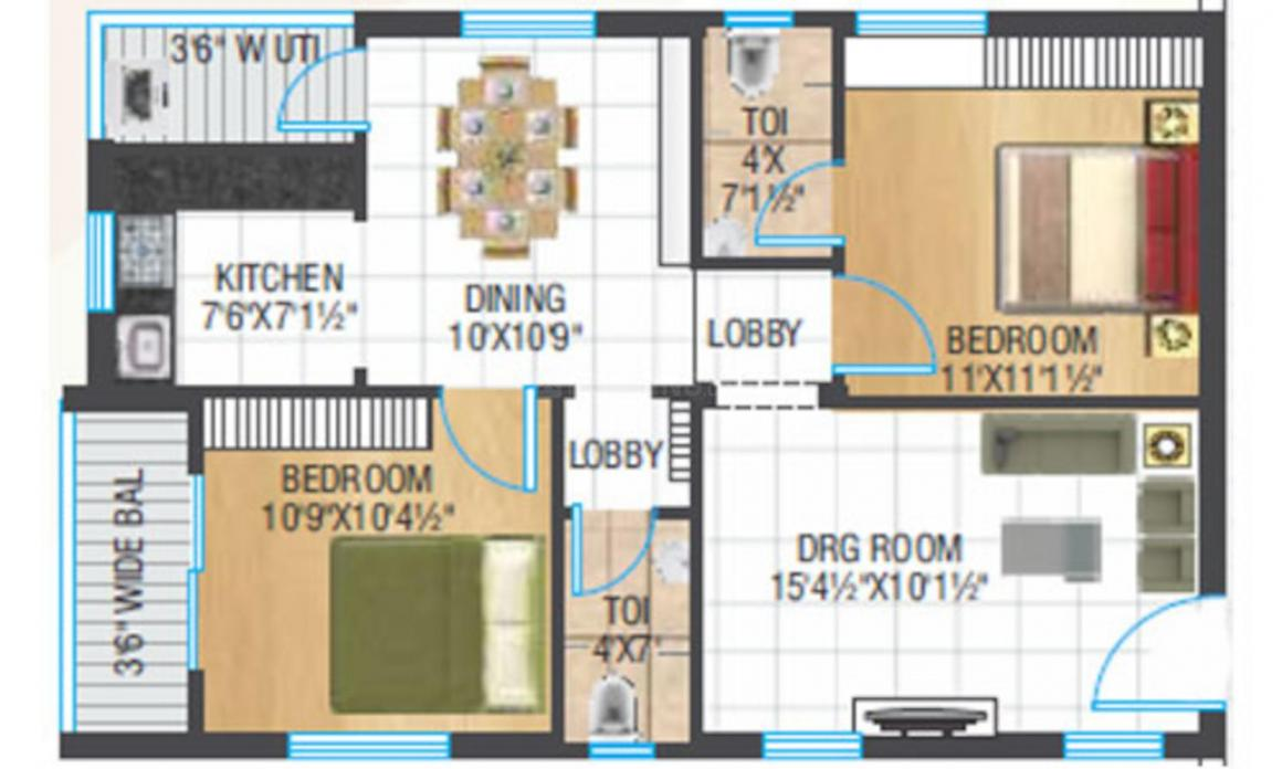 Suryas Sarover Floor Plan: 2 BHK Unit with Built up area of 1065 sq.ft 1