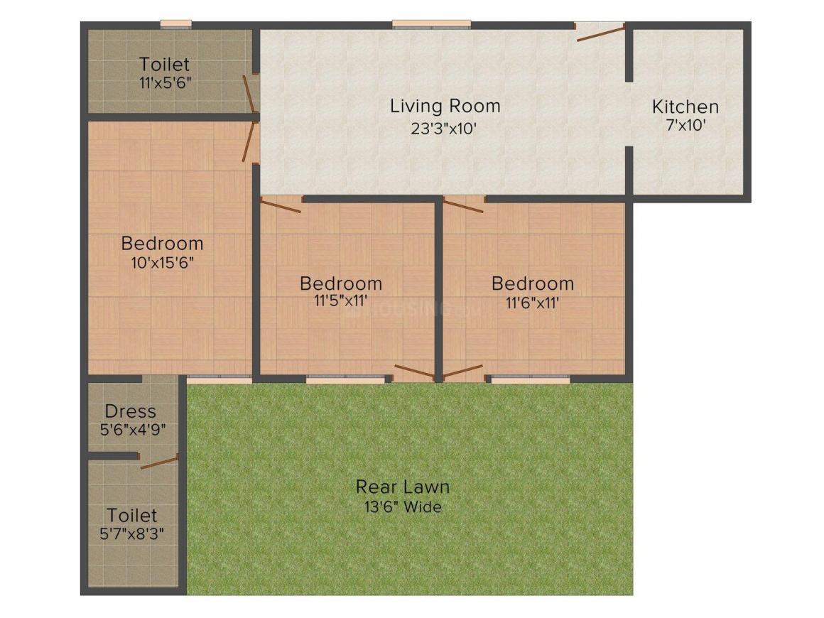 Gupta Ji Floors A - 2607   Floor Plan: 3 BHK Unit with Built up area of 1500 sq.ft 1