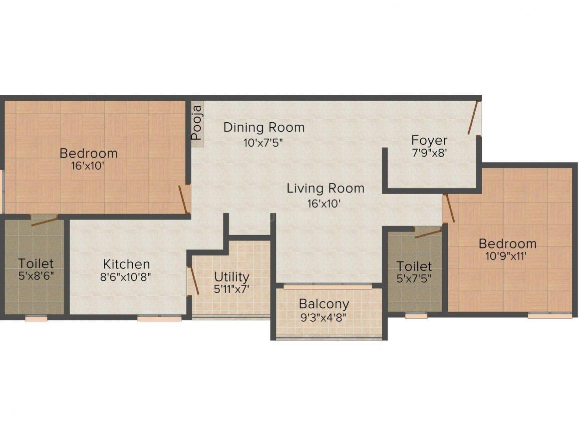 Floor Plan Image of 1166.0 - 1299.0 Sq.ft 2 BHK Apartment for buy in NM Gem Enclave