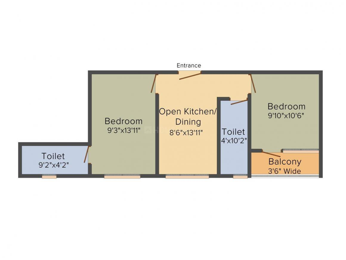 Floor Plan Image of 726.0 - 853.0 Sq.ft 2 BHK Apartment for buy in Liberty Abasan