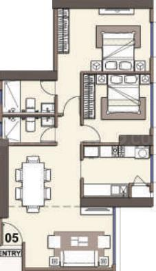 Monte South Floor Plan: 2 BHK Unit with Built up area of 851 sq.ft 1