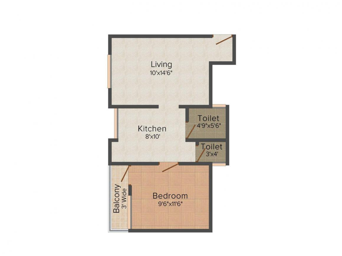 Floor Plan Image of 544 - 561 Sq.ft 1 BHK Apartment for buy in Indrani Heights