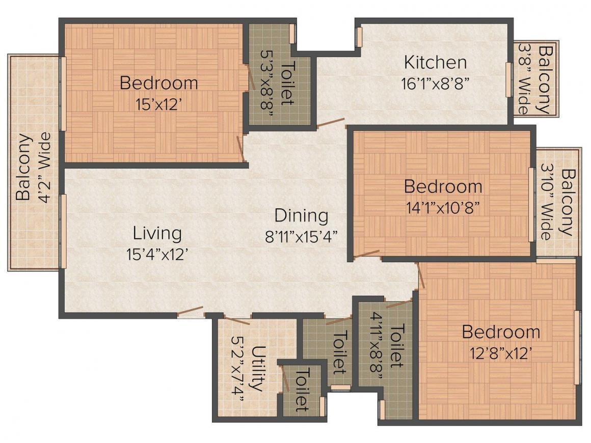 Floor Plan Image of 0 - 1550.0 Sq.ft 3 BHK Independent Floor for buy in Flat Guru Floors - I