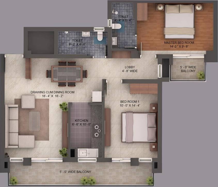 Umang Summer Palms Floor Plan: 2 BHK Unit with Built up area of 1260 sq.ft 1