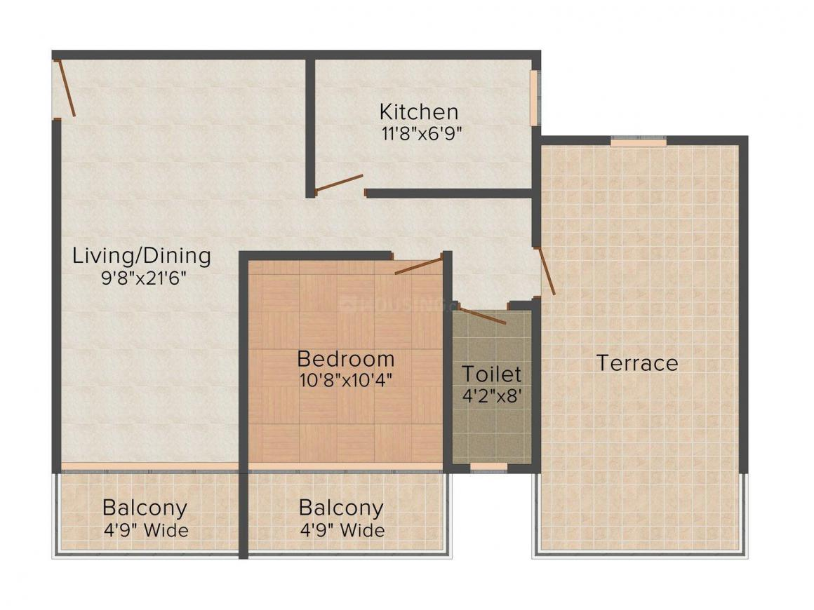 Floor Plan Image of 915 - 2023 Sq.ft 1 BHK Apartment for buy in Models Royal Palms