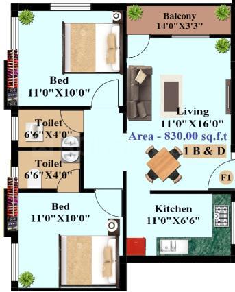 Sri Jeyam Brindavan Flats Floor Plan: 2 BHK Unit with Built up area of 830 sq.ft 1