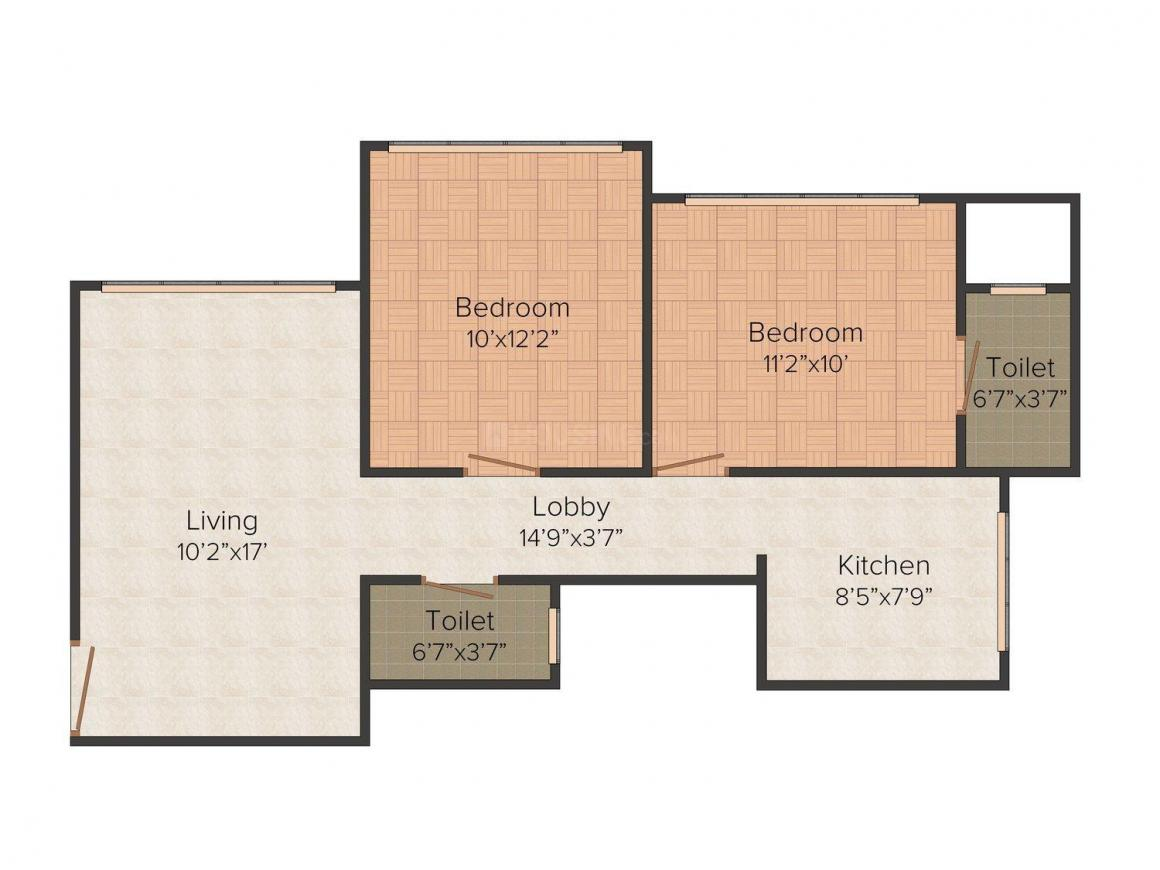 Floor Plan Image of 582 - 595 Sq.ft 2 BHK Apartment for buy in Dhariwal Mangaldeep CHS