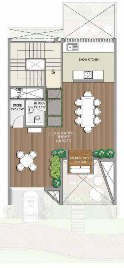 Rise Resort Residence Villa Floor Plan: 4 BHK Unit with Built up area of 3005 sq.ft 1