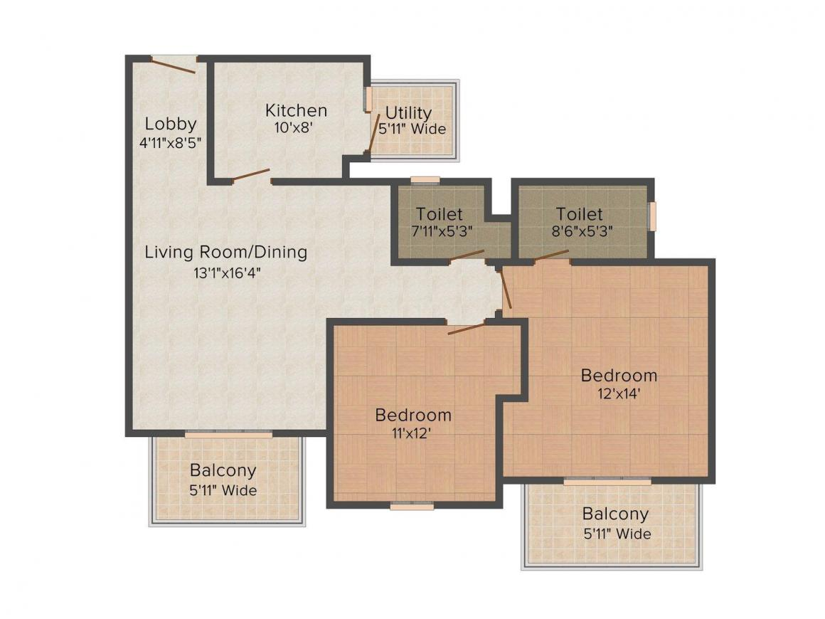 Paras Irene Floor Plan: 2 BHK Unit with Built up area of 1420 sq.ft 1