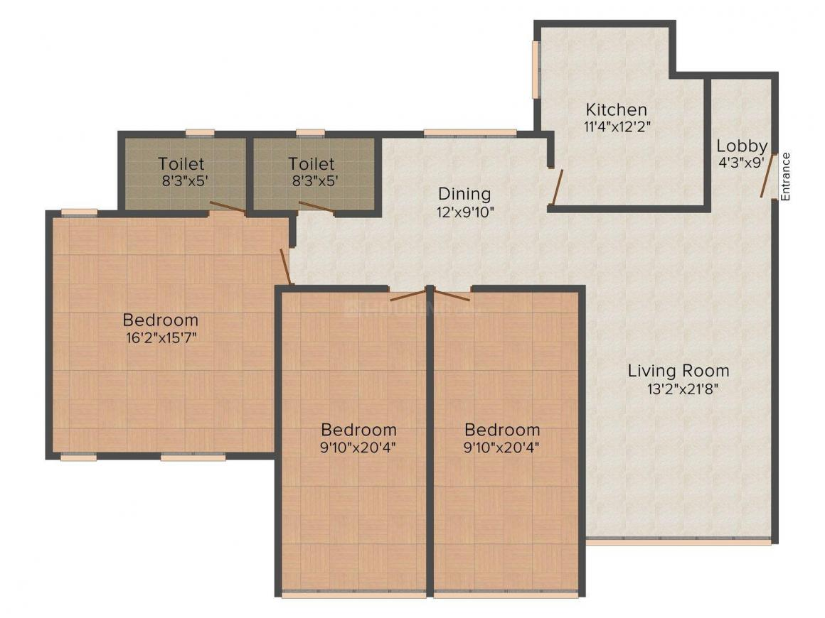 Floor Plan Image of 146.0 - 149.0 Sq.ft 3 BHK Apartment for buy in Kamat Riviera