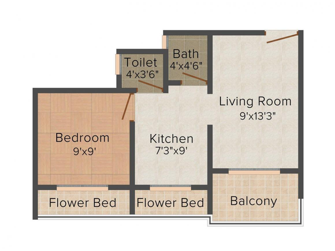 Floor Plan Image of 0 - 392 Sq.ft 1 BHK Apartment for buy in Dadan Anant Plaza