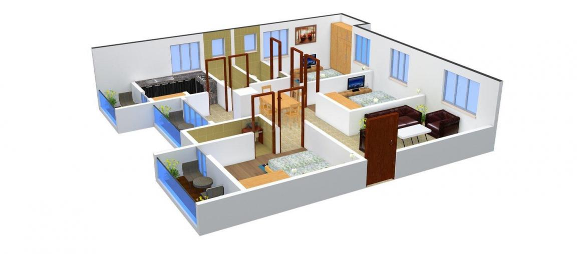 Winner Thuvar Floor Plan: 3 BHK Unit with Built up area of 1416 sq.ft 1