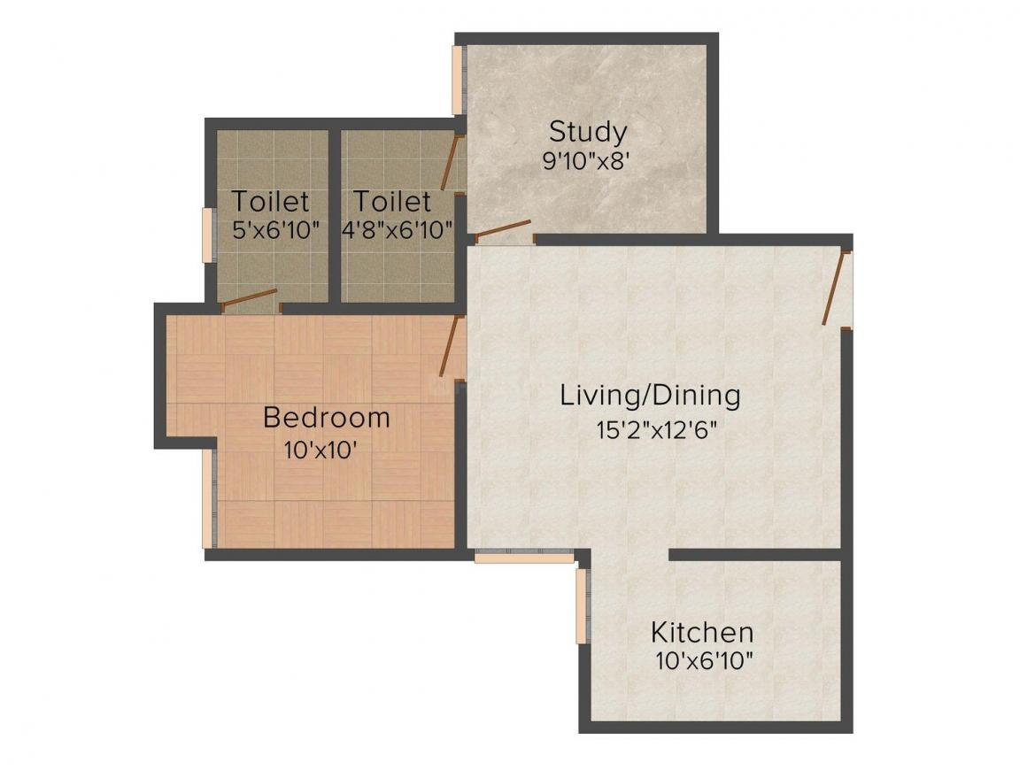 Floor Plan Image of 724.0 - 1096.0 Sq.ft 1.5 BHK Apartment for buy in Royal Aadhira
