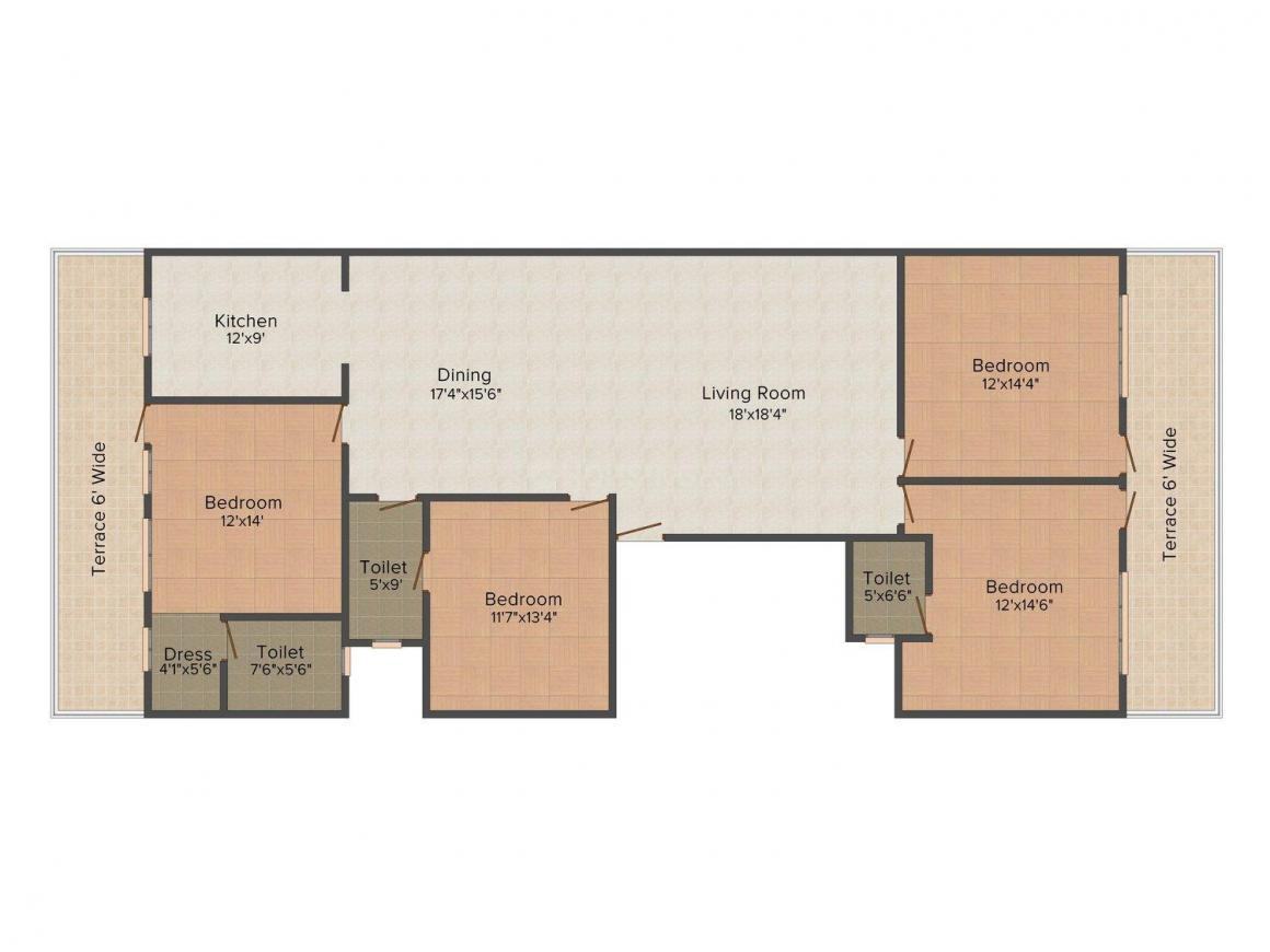 Yash Floors A 2497 Floor Plan: 4 BHK Unit with Built up area of 2583 sq.ft 1