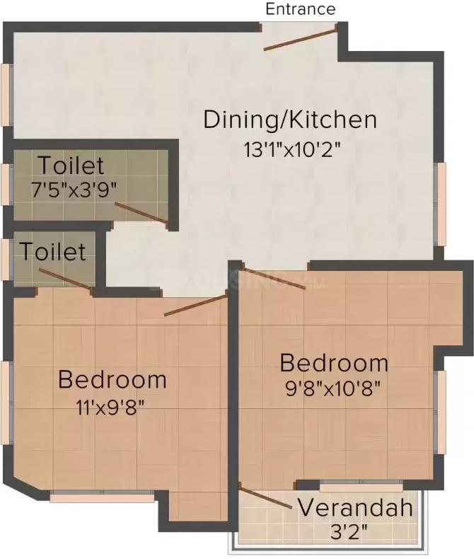 Floor Plan Image of 810.0 - 850.0 Sq.ft 2 BHK Apartment for buy in Lokenath 101 Sarsuna Main Road