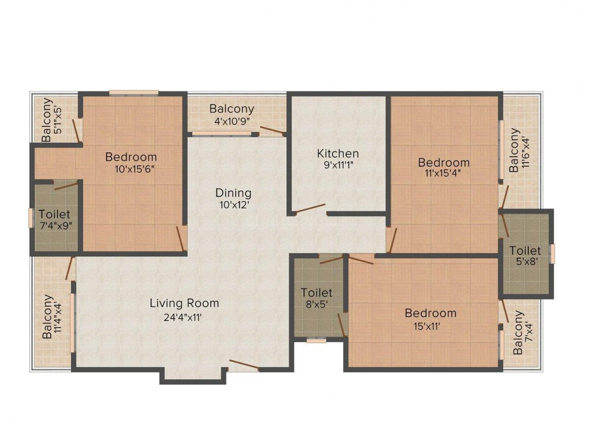Floor Plan Image of 1134.0 - 1512.0 Sq.ft 3 BHK Apartment for buy in Karauli Mansion