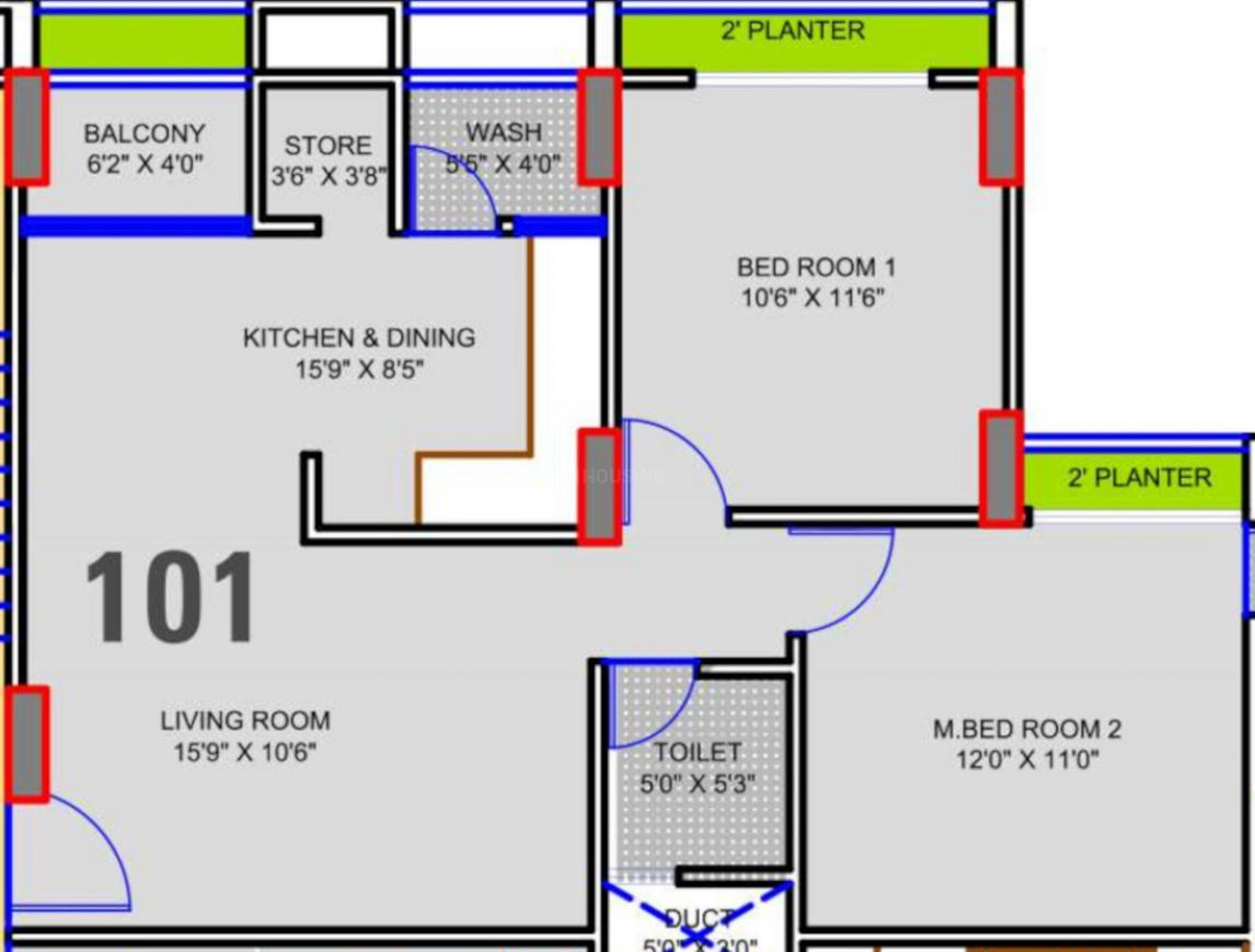 Shree Shakti Aastha Pride Floor Plan: 2 BHK Unit with Built up area of 668 sq.ft 1