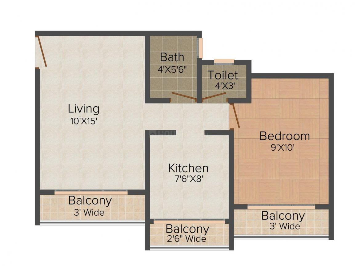 Floor Plan Image of 725.0 - 1055.0 Sq.ft 1 BHK Apartment for buy in Abhay Sheetal Complex