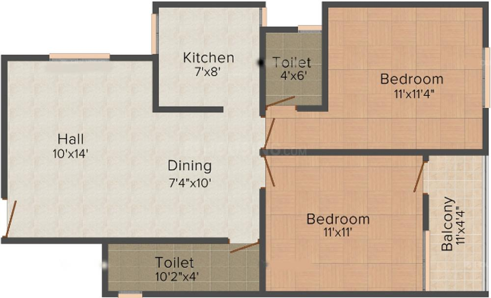 Vastu Silicon City Floor Plan: 2 BHK Unit with Built up area of 938 sq.ft 1