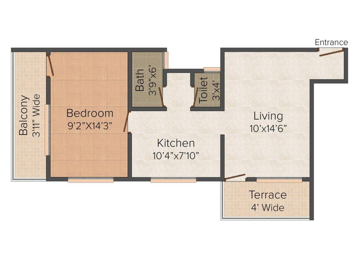 Floor Plan Image of 0 - 639 Sq.ft 1 BHK Apartment for buy in Patil's Pratham Niwas
