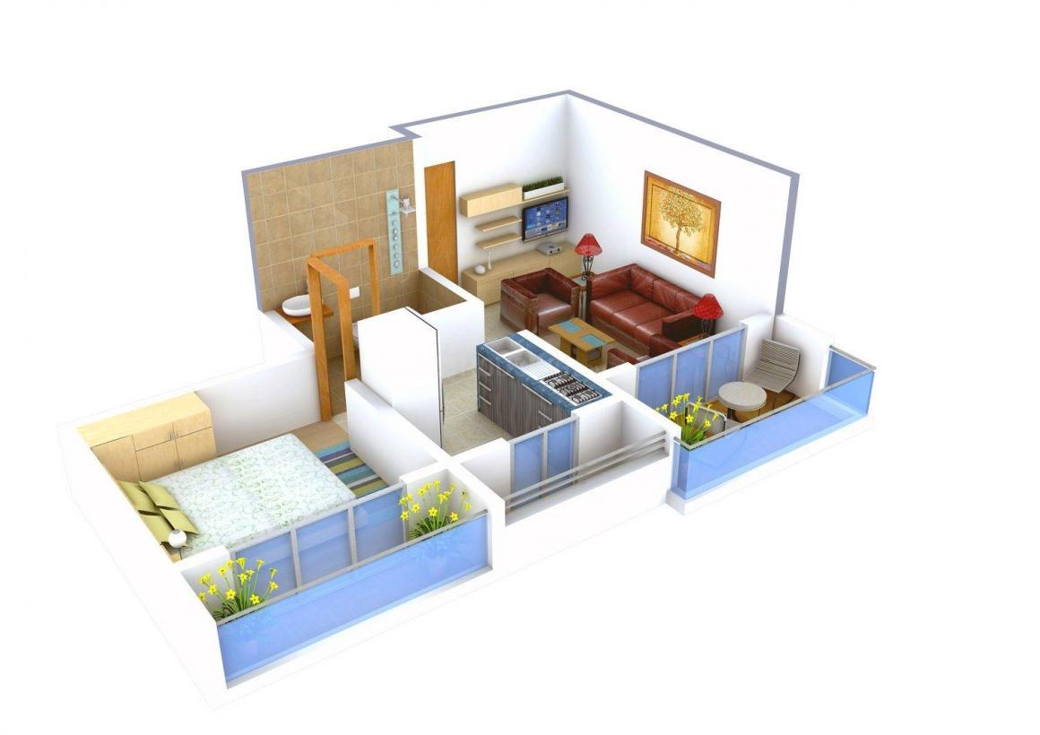 Floor Plan Image of 436 - 610 Sq.ft 1 BHK Apartment for buy in Royal Green Plaza