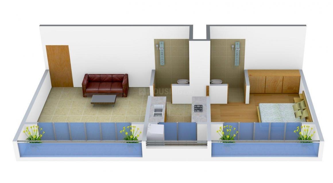 Floor Plan Image of 0 - 600.0 Sq.ft 1 BHK Apartment for buy in Jaksh Savera Vastushri Apartment