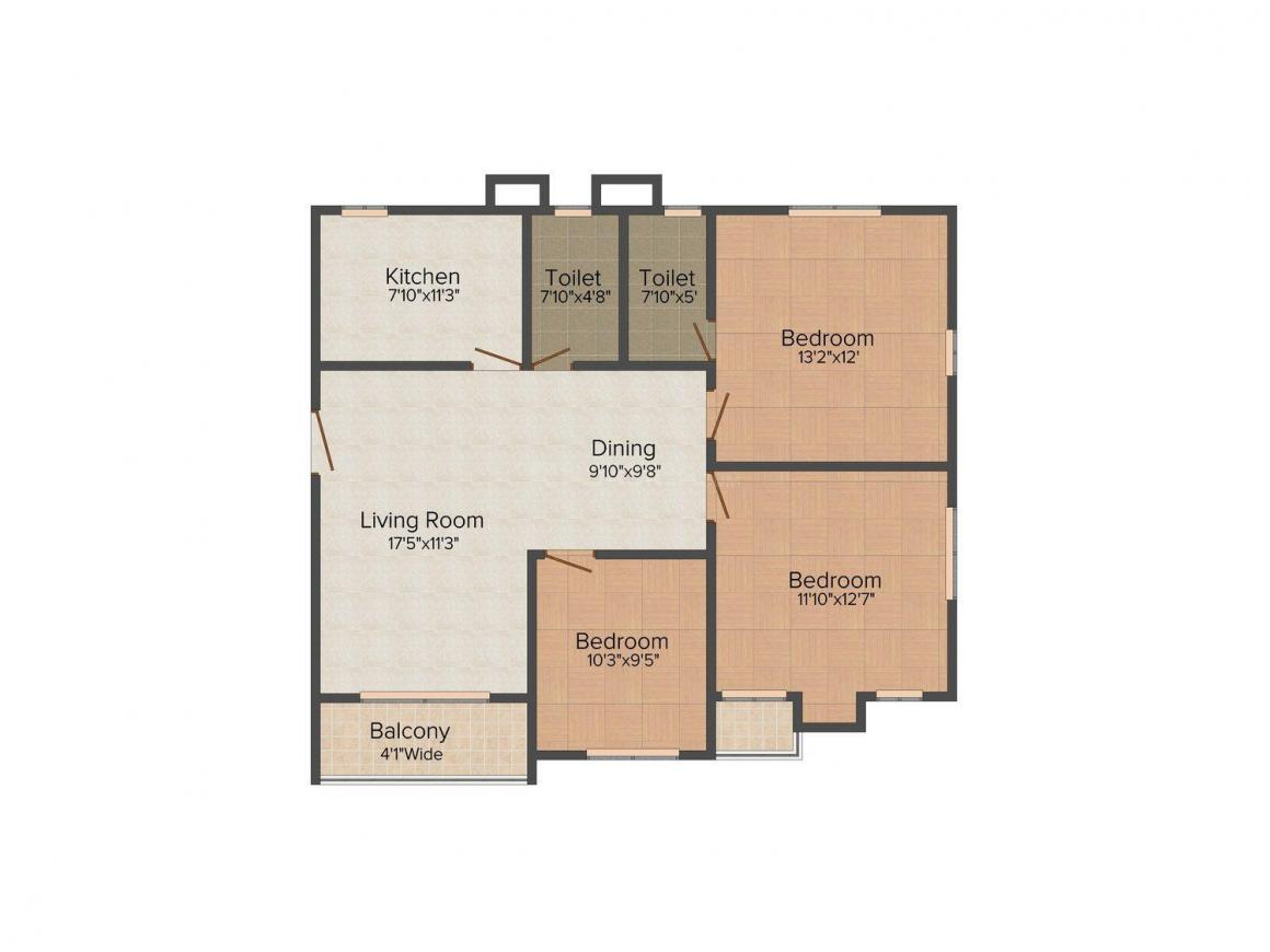 Swastic Monikana Floor Plan: 3 BHK Unit with Built up area of 1025 sq.ft 1