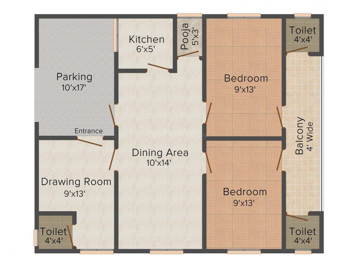 Sunny Dev 7 Floor Plan: 2 BHK Unit with Built up area of 837 sq.ft 1