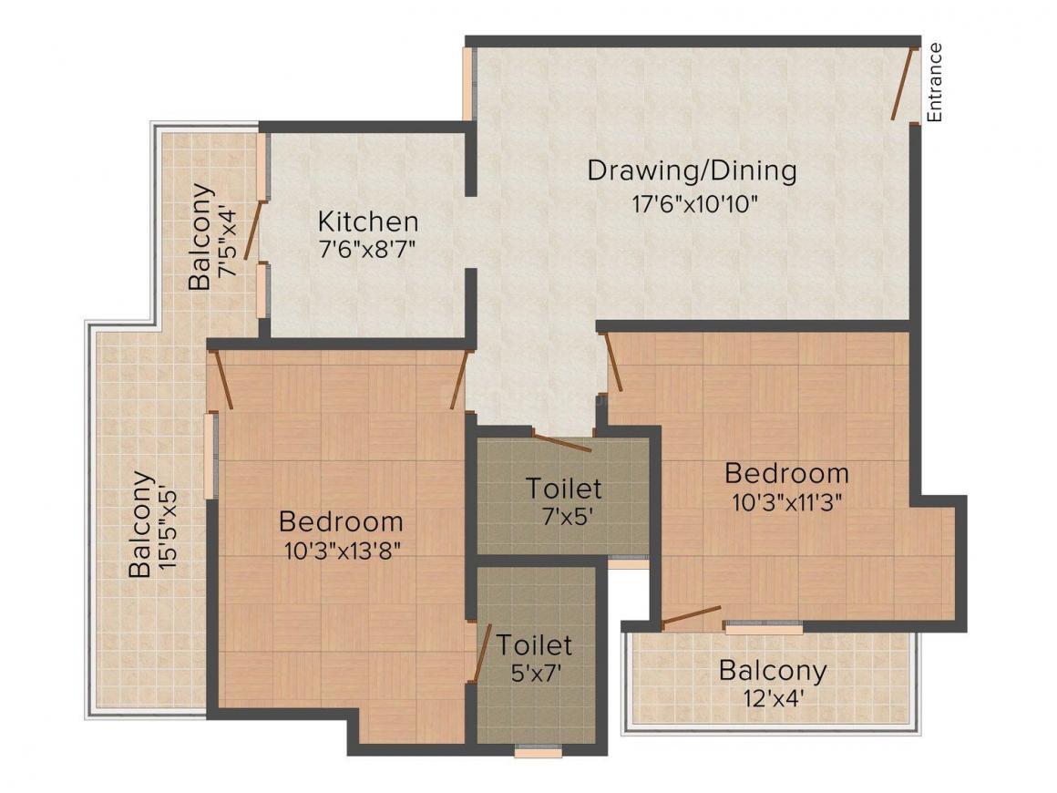 Gaikwad Vaidehi Saaket Floor Plan: 2 BHK Unit with Built up area of 950 sq.ft 1