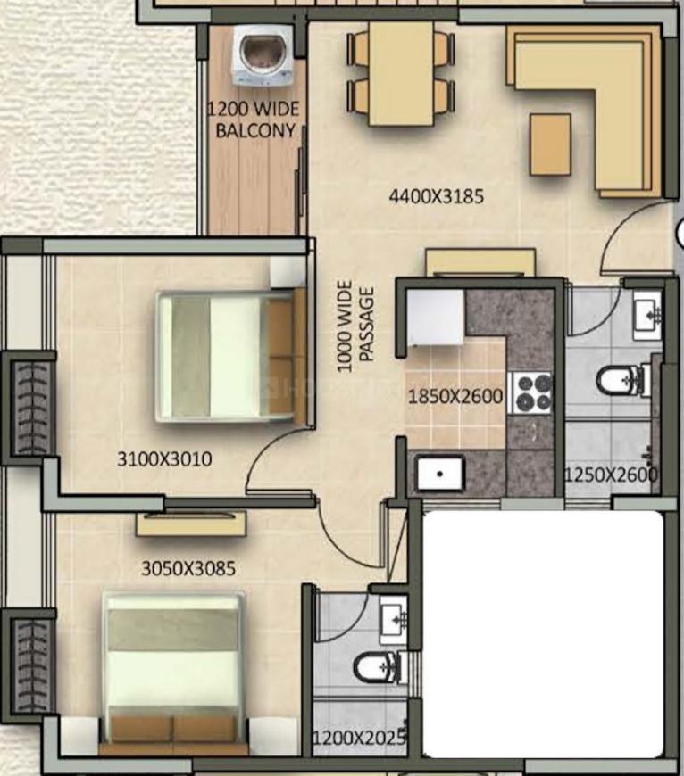 Signum Sampurna Floor Plan: 2 BHK Unit with Built up area of 636 sq.ft 1