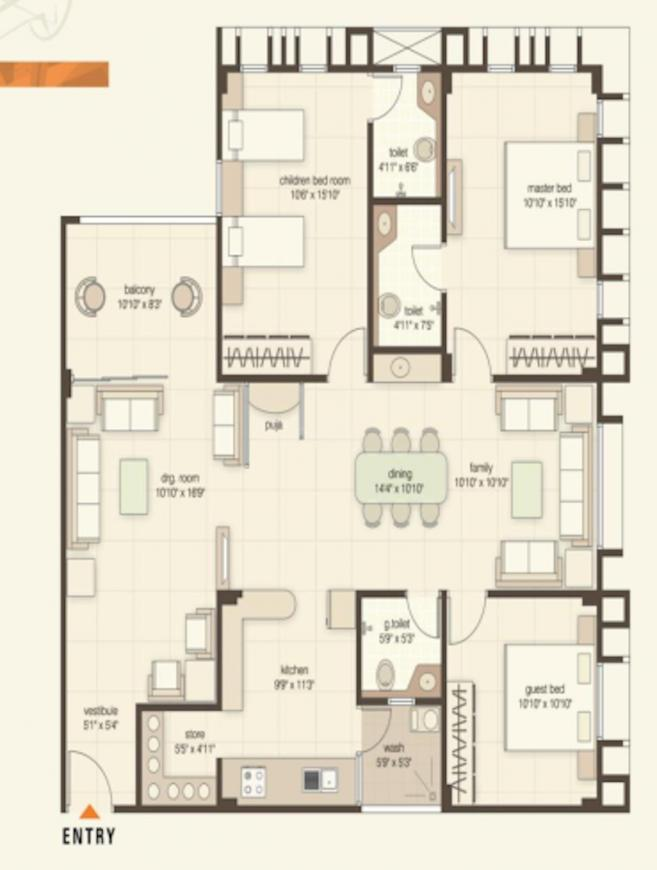 Mangalam Nirvana 2 Floor Plan: 2 BHK Unit with Built up area of 1485 sq.ft 1