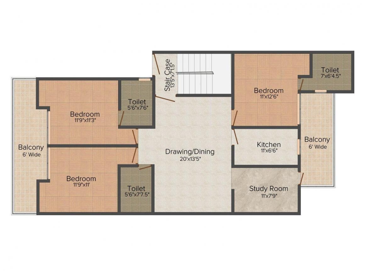 Tulsi  Builder Floors Floor Plan: 3 BHK Unit with Built up area of 1117 sq.ft 1