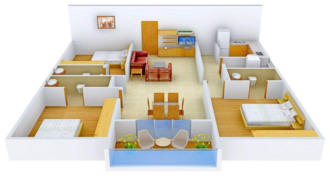 Floor Plan Image of 0 - 1667 Sq.ft 3 BHK Apartment for buy in Meridian @ Manikonda