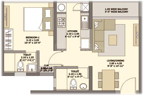 Tata Serein Phase 1 Floor Plan: 1 BHK Unit with Built up area of 446 sq.ft 1