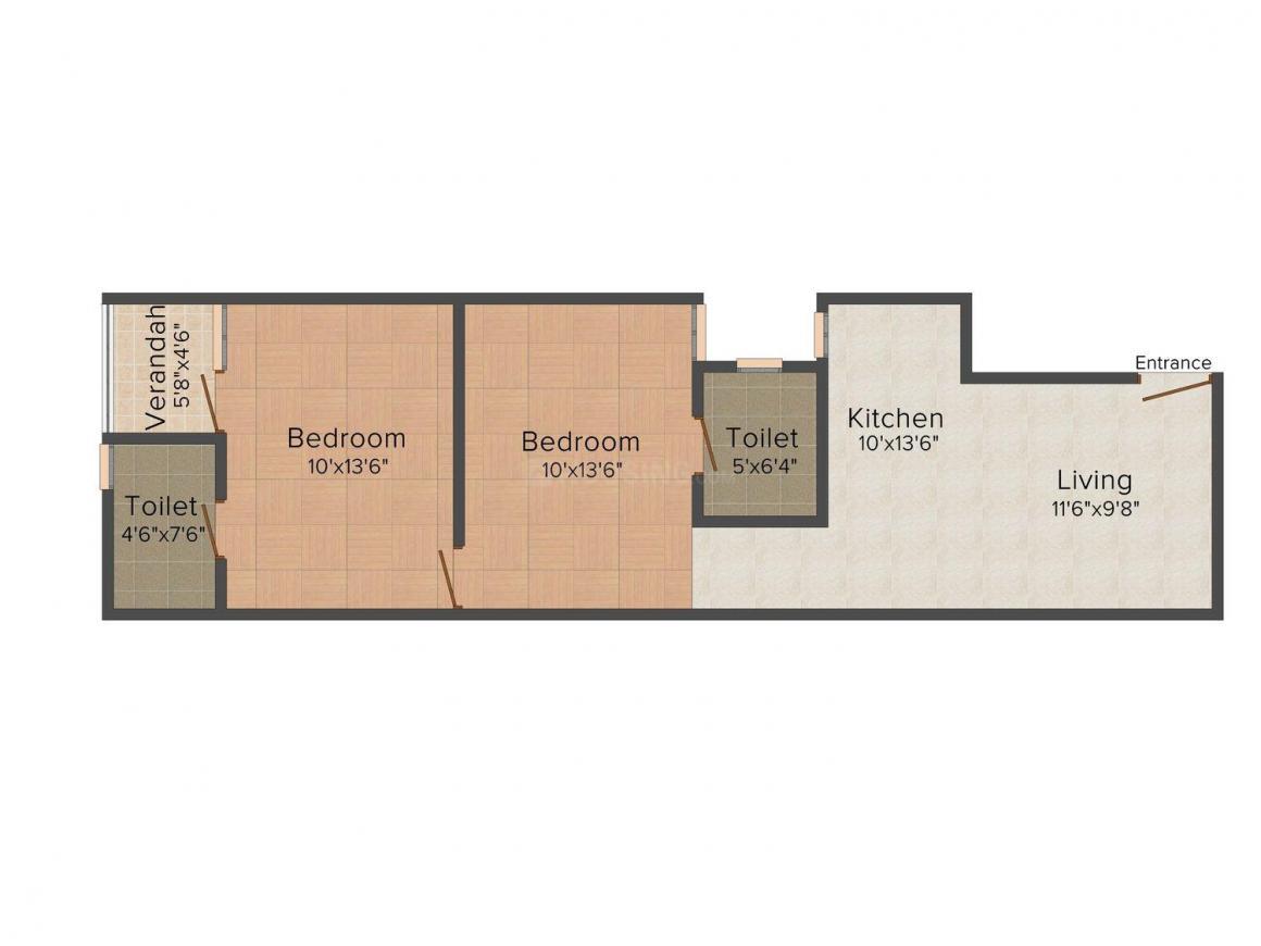 Floor Plan Image of 400 - 800 Sq.ft 1 BHK Independent Floor for buy in NZ Associates Project 6