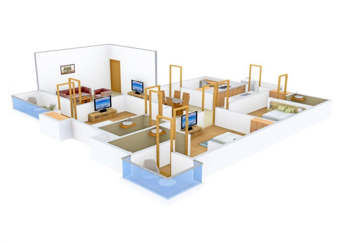 Floor Plan Image of 0 - 1980.0 Sq.ft 3 BHK Apartment for buy in Tulsiani Square Phase II