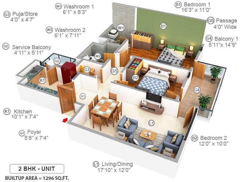 Ireo The Corridors Floor Plan: 2 BHK Unit with Built up area of 1296 sq.ft 1