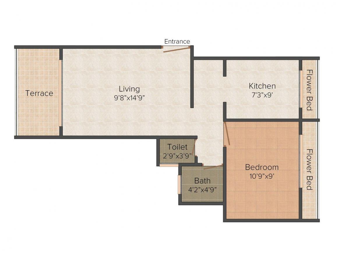 Floor Plan Image of 605.0 - 680.0 Sq.ft 1 BHK Apartment for buy in Shree Tisai Dham