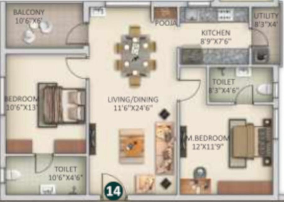 SVS Bhuvi Residency Floor Plan: 2 BHK Unit with Built up area of 1555 sq.ft 1