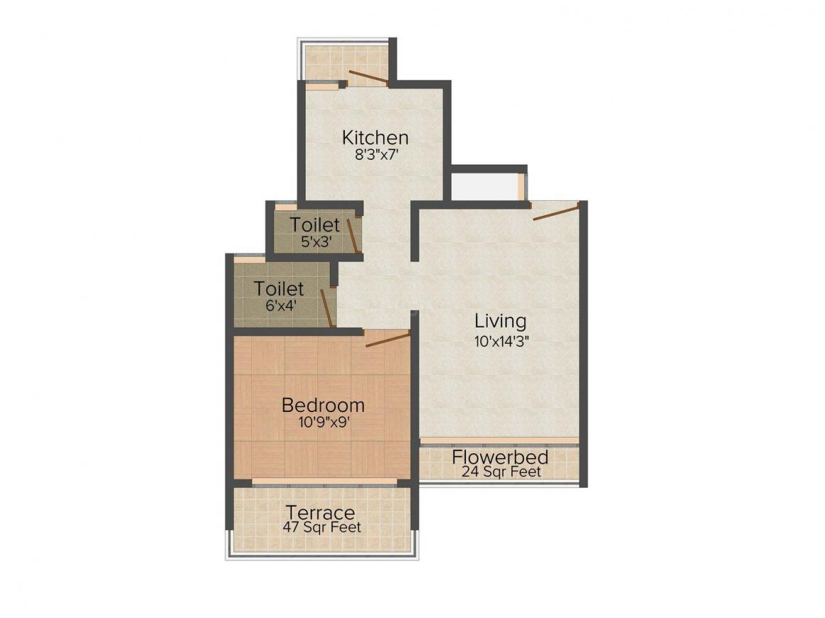 Floor Plan Image of 420.0 - 680.0 Sq.ft 1 BHK Apartment for buy in Riddhi Siddhi Sai niwas