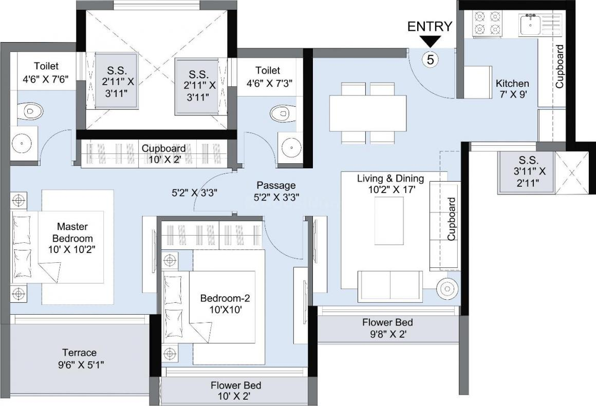 L And T Seawoods Residences Phase I Floor Plan: 2 BHK Unit with Built up area of 493 sq.ft 1