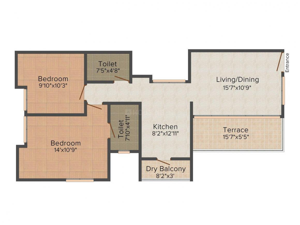Valay Skylark Residences Floor Plan: 2 BHK Unit with Built up area of 1046 sq.ft 1