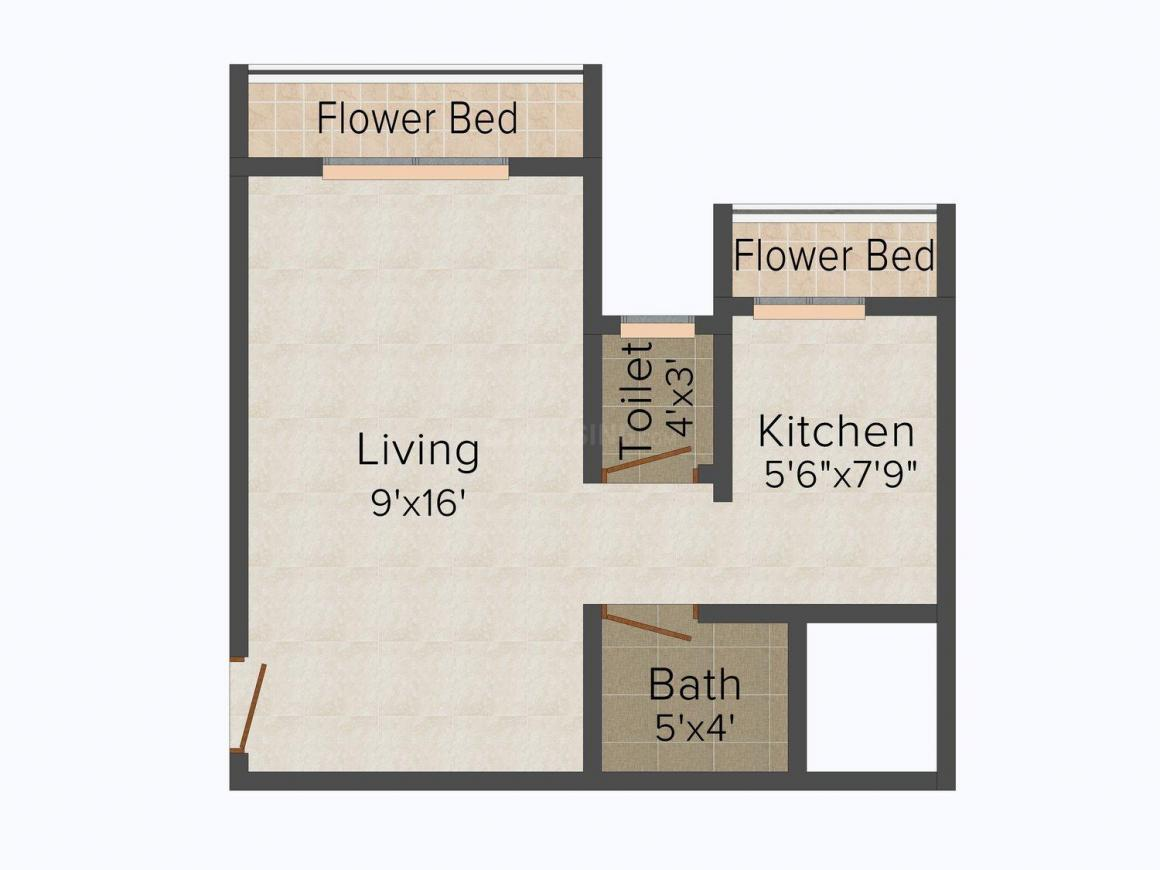 Floor Plan Image of 350 - 650 Sq.ft 1 RK Apartment for buy in Mangalam Group Gokul Galaxy-ll