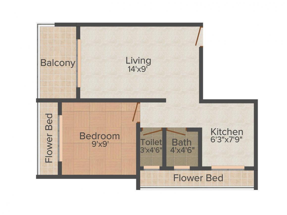 Floor Plan Image of 0 - 455.0 Sq.ft 1 BHK Apartment for buy in Ravechi Green Corner