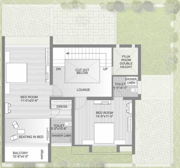 Ugati Ugati Enclave Floor Plan: 4 BHK Unit with Built up area of 2925 sq.ft 1