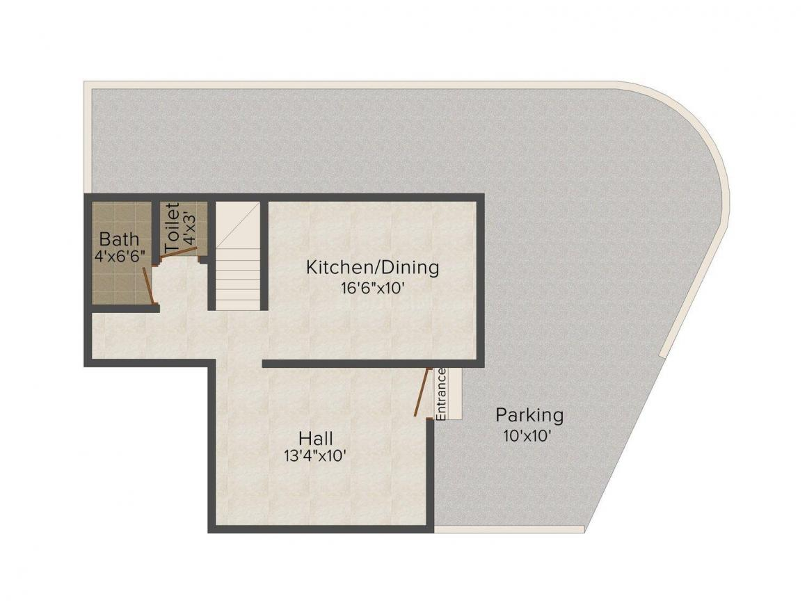 Floor Plan Image of 1220 - 1301 Sq.ft 2 BHK Row House for buy in Rachita Grace